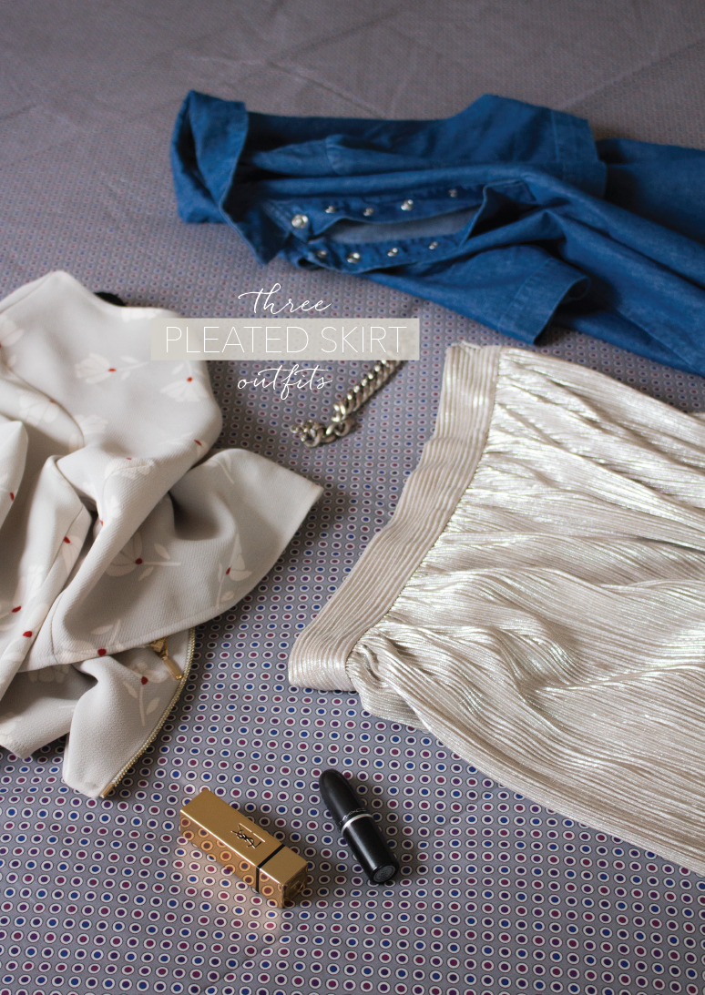 three-pleated-skirt-outfits, how-to-wear-a-pleated-skirt, wearing-a-silver-skirt-everyday, casual-silver-skirt