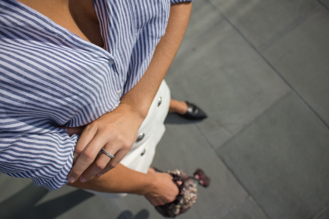 Labor Day Outfit With Stripes and Military White