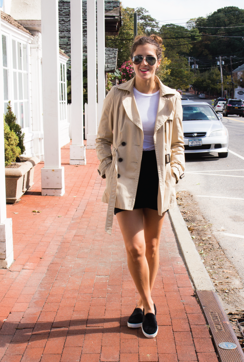 outfit-of-the-day, fall-transition-outfit, banana-republic-casual-skirt, trench-coat-for-fall, wearing-a-trench-coat