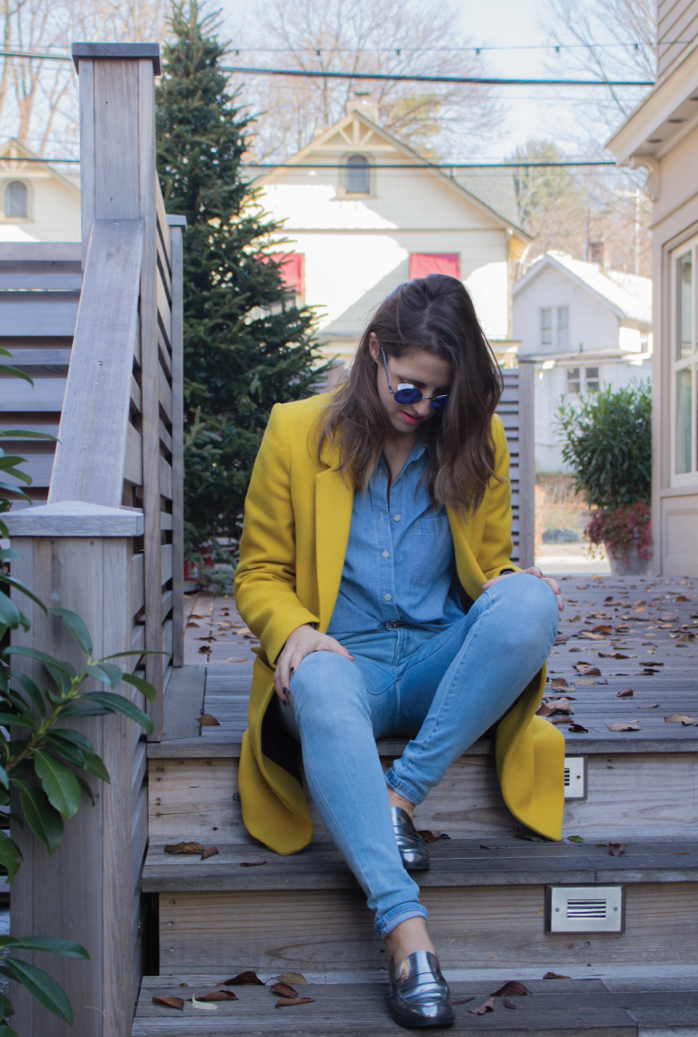 outfit-of-the-day, statement-coat, statement-wardrobe-pieces, masculine-coat, pop-of-yellow, denim-on-denim