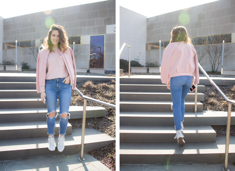 outfit-of-the-day, combining-pink, wearing-pink, pink-bomber-jacket, topshop-bomber-jacket